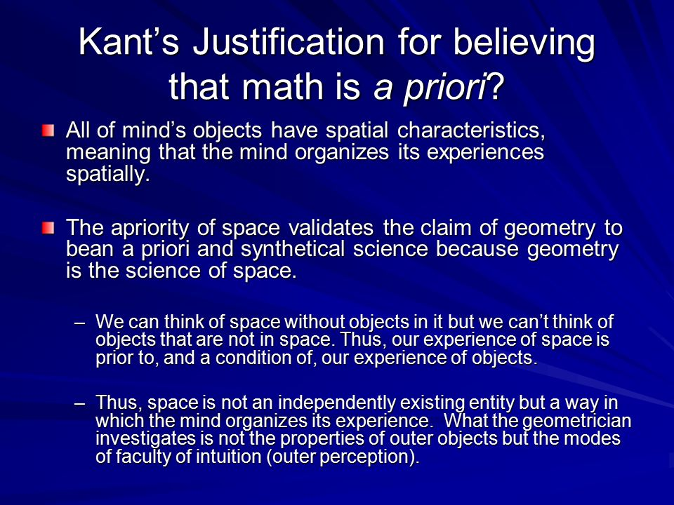 Kant's Justification for believing that math is a priori