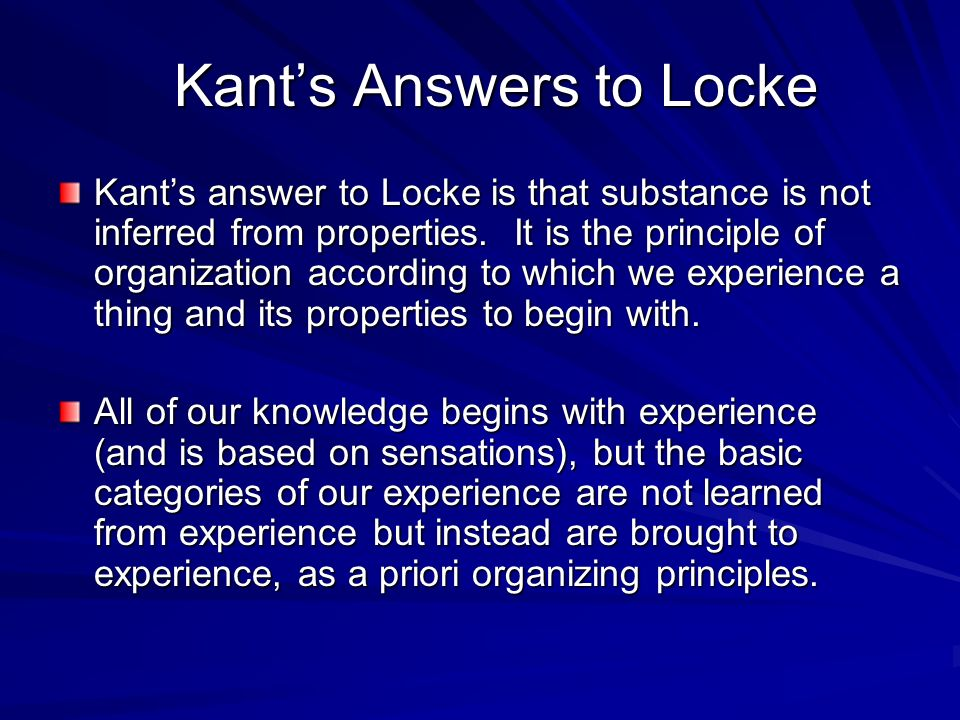 Kant's Answers to Locke