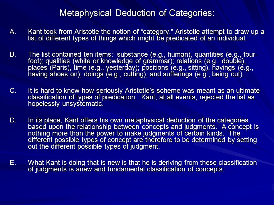 Metaphysical Deduction of Categories: