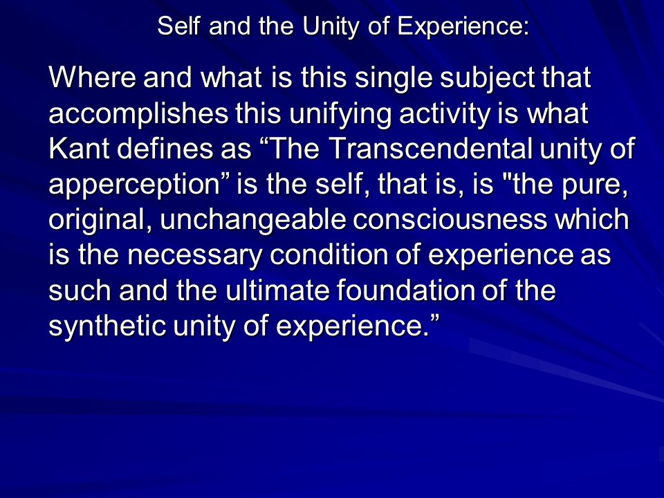 Self and the Unity of Experience: