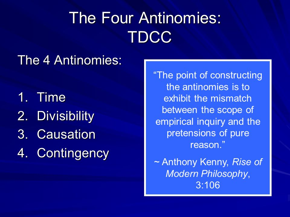 The Four Antinomies: TDCC