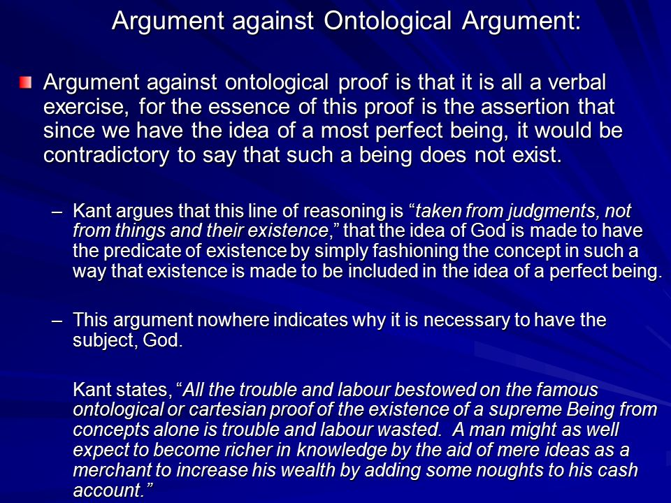 Argument against Ontological Argument: