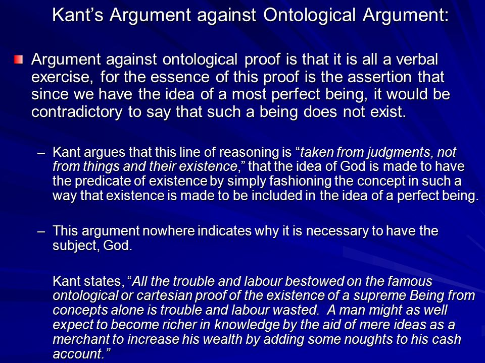Kant's Argument against Ontological Argument: