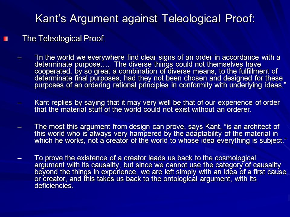 Kant's Argument against Teleological Proof: