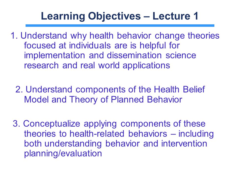 Learning Objectives Lecture 1