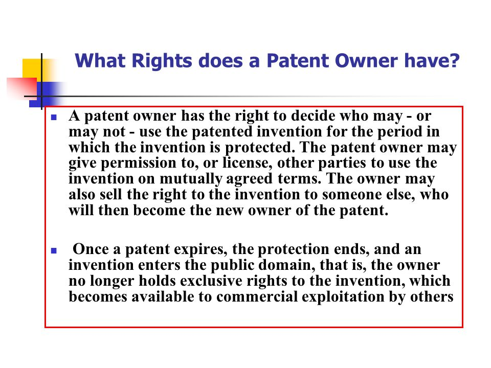 What Rights Does A Patent Owner Have