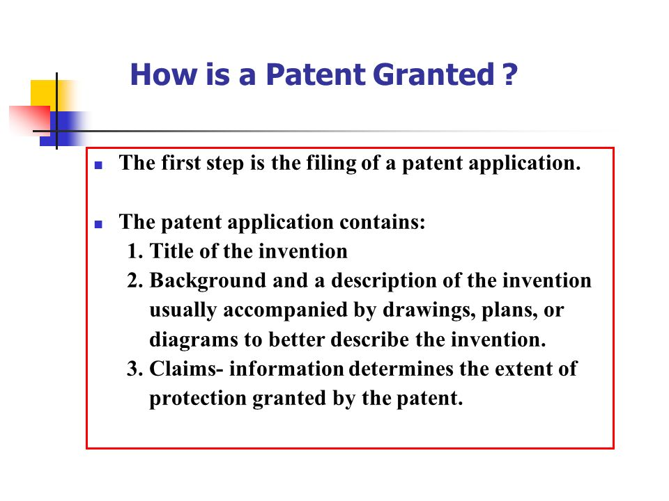 How Is A Patent Granted The First Step Filing Of Application