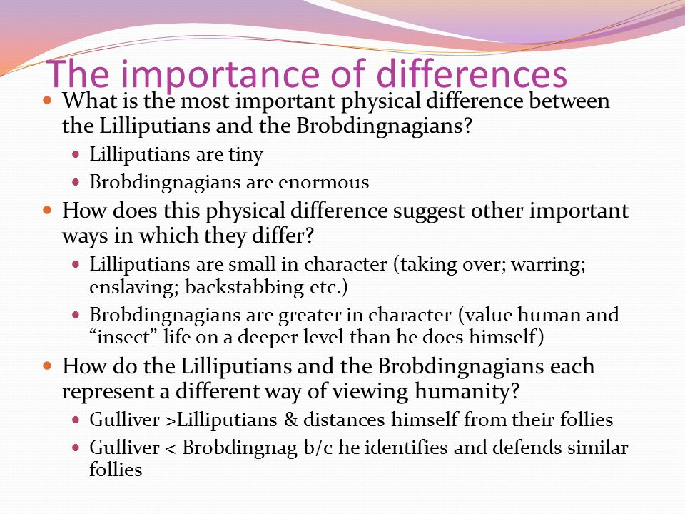 difference between lilliputians and brobdingnagians