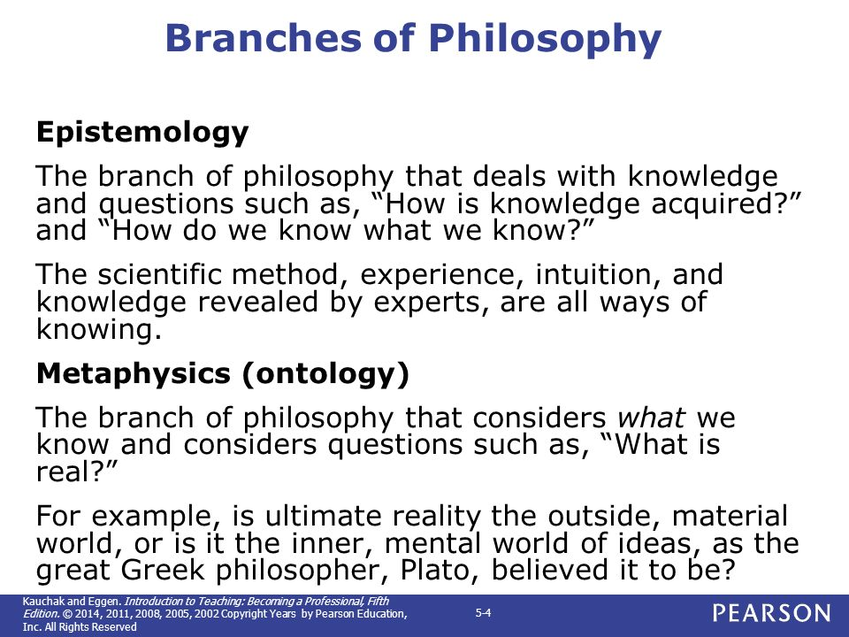 4 branches of philosophy