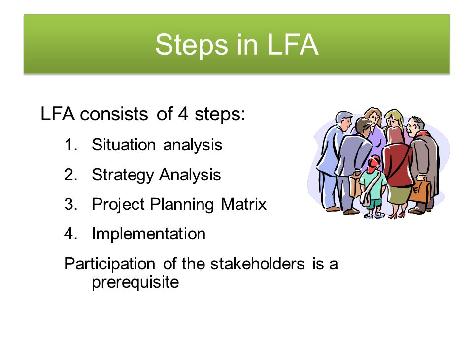 Steps in LFA LFA consists of 4 steps: Situation analysis