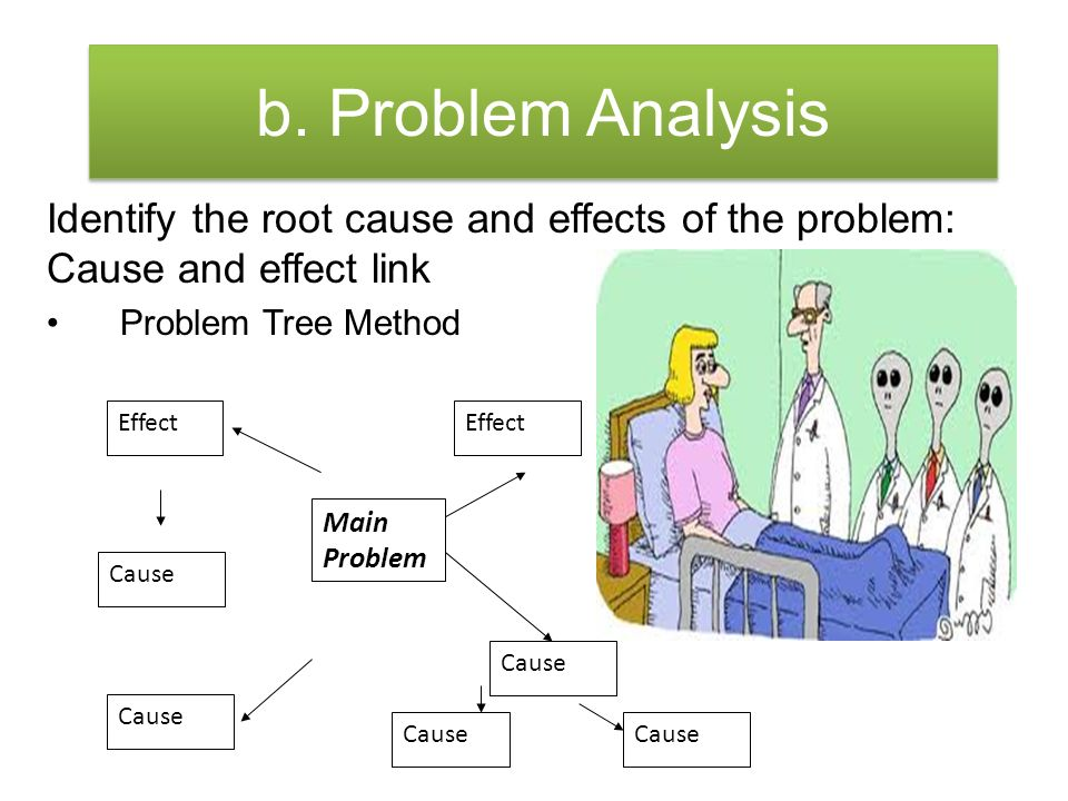 b. Problem Analysis Identify the root cause and effects of the problem: Cause and effect link. Problem Tree Method.