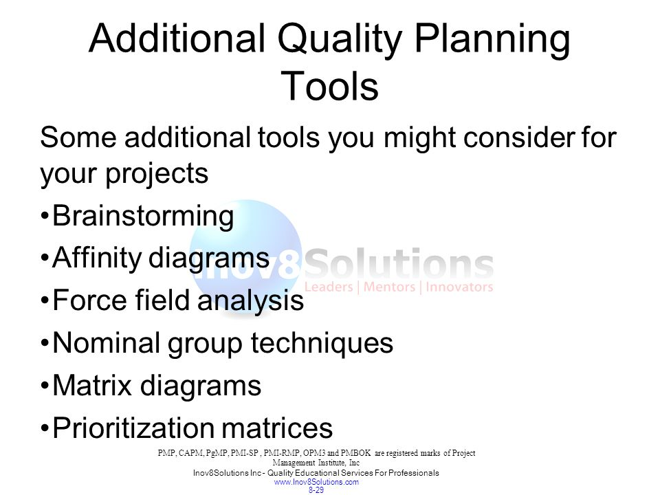 29 additional quality planning tools