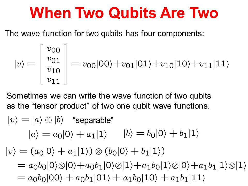 When Two Qubits Are Two The wave function for two qubits has four components: Sometimes we can write the wave function of two qubits.