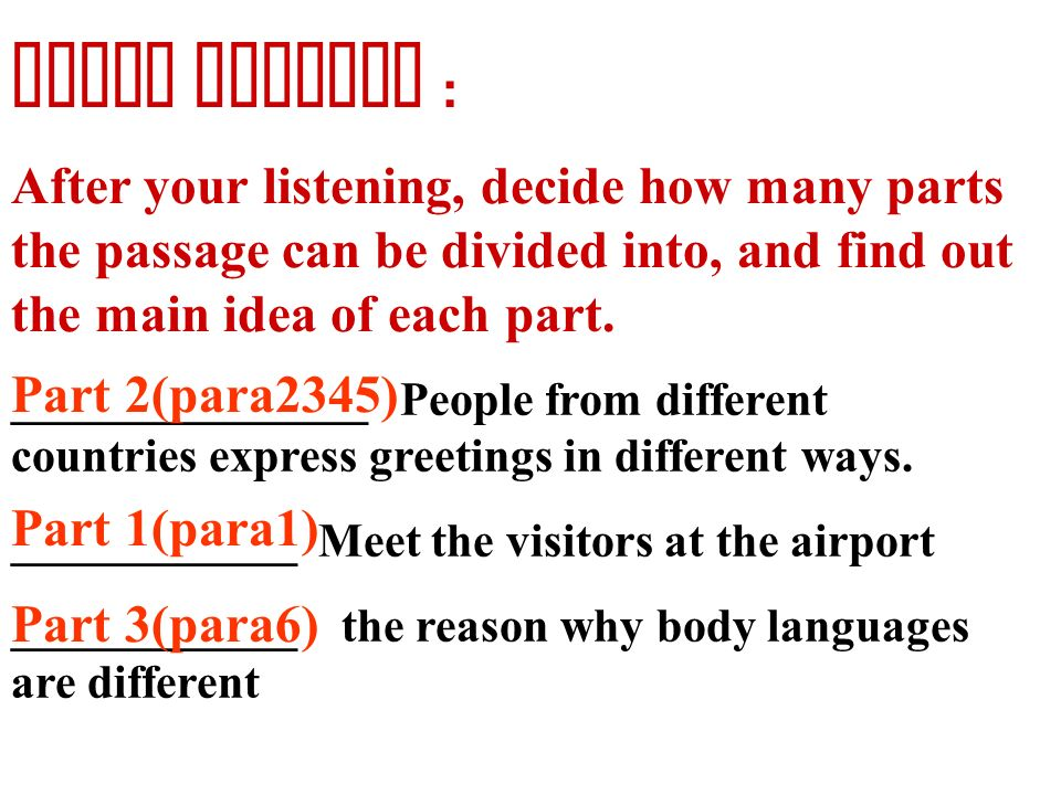 Unit 4 body language ppt download first reading after your listening decide how many parts the passage can be divided m4hsunfo