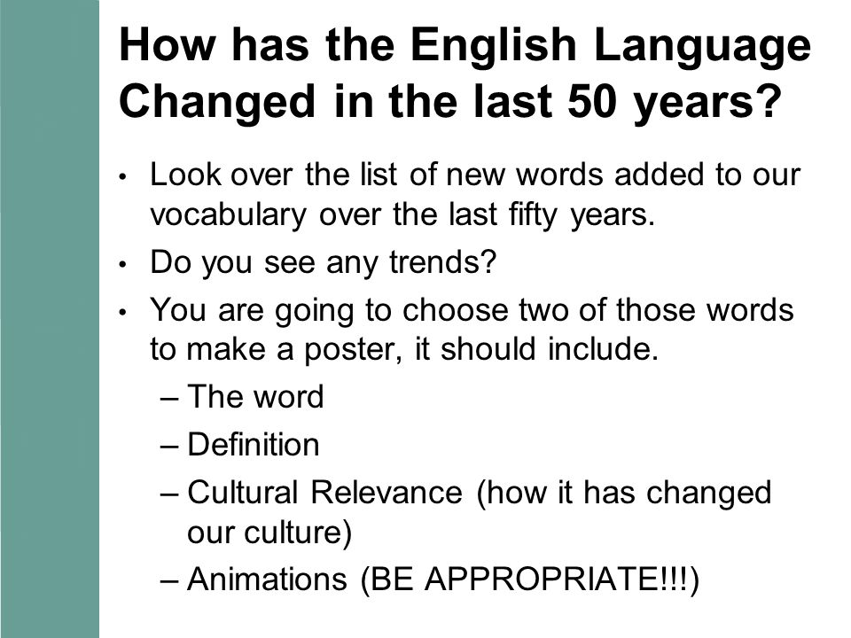 how has language evolved within the past 100 years