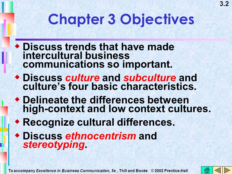 Chapter 3 Objectives Discuss trends that have made intercultural business communications so important.