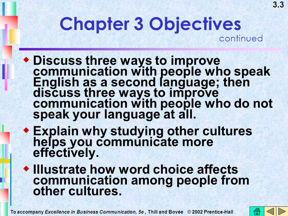 Chapter 3 Objectives continued.