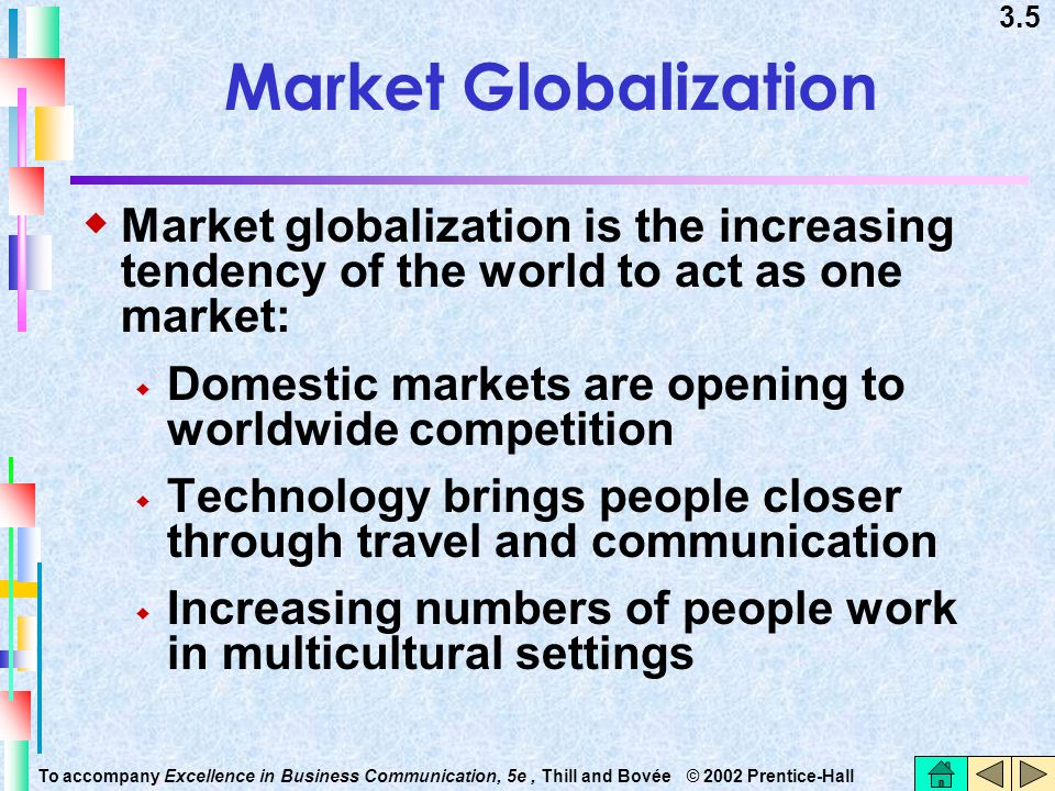 Market Globalization Market globalization is the increasing tendency of the world to act as one market: