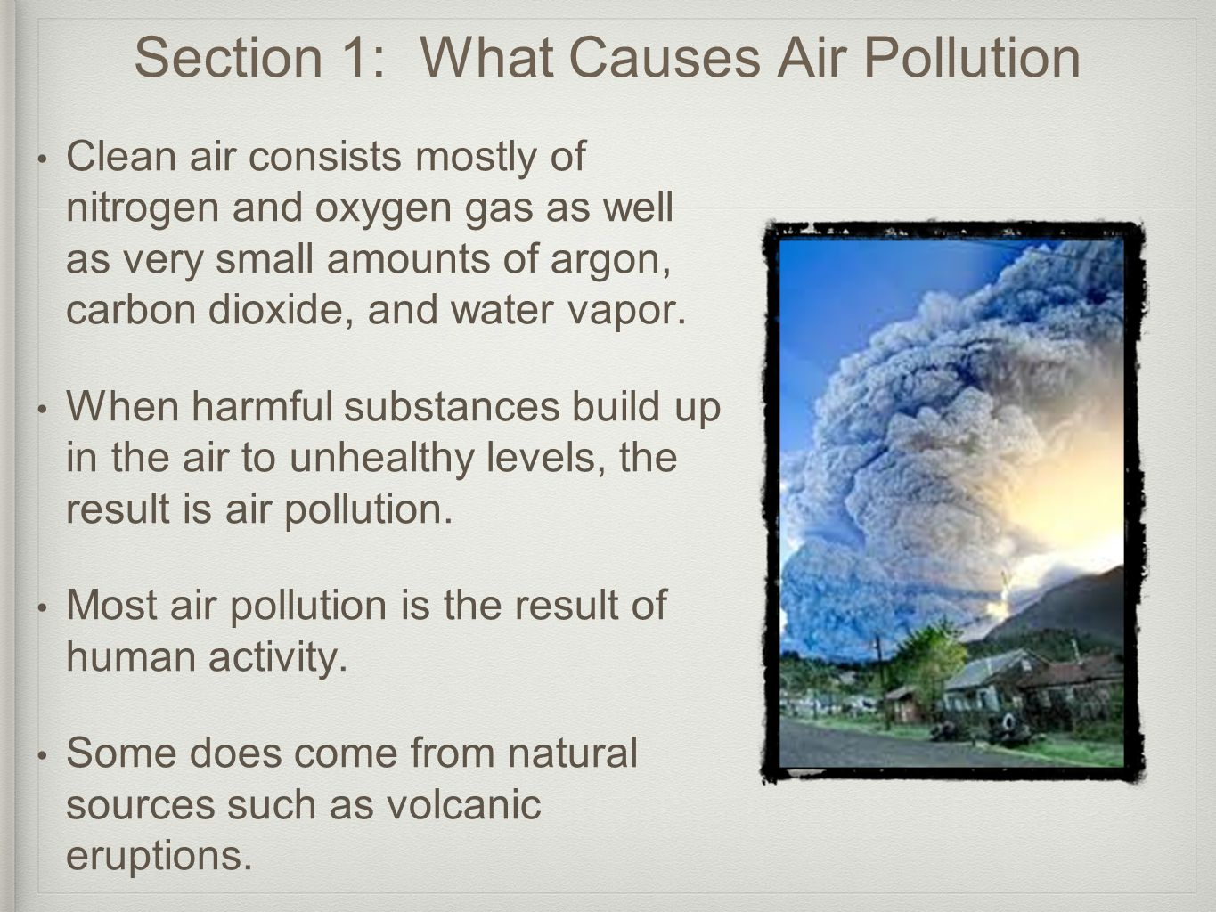 Section 1: What Causes Air Pollution