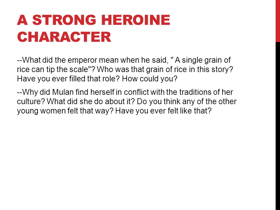 A Strong Heroine Character