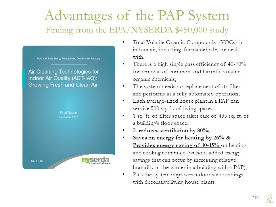 Advantages of the PAP System