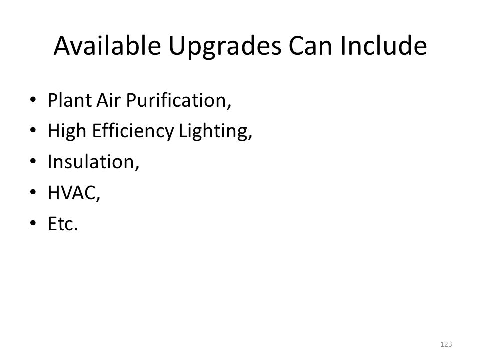 Available Upgrades Can Include