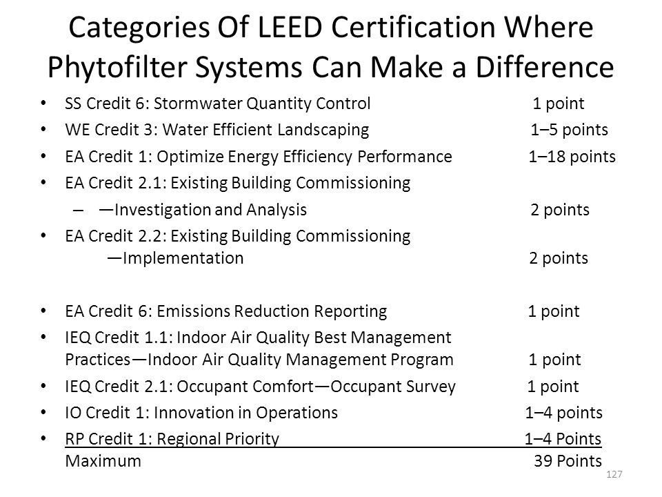 Categories Of LEED Certification Where Phytofilter Systems Can Make a Difference