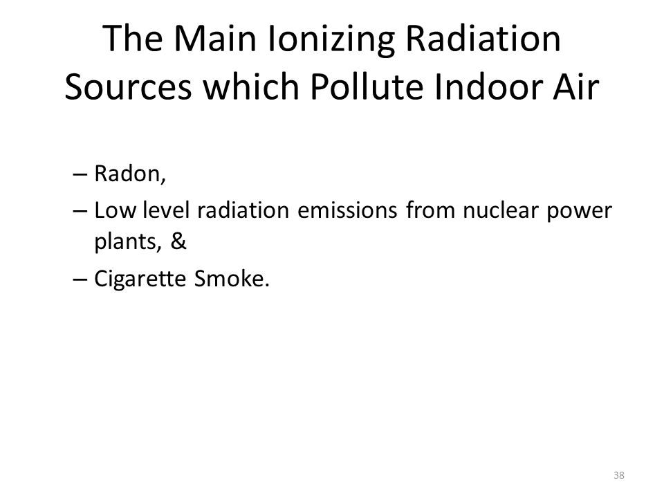 The Main Ionizing Radiation Sources which Pollute Indoor Air