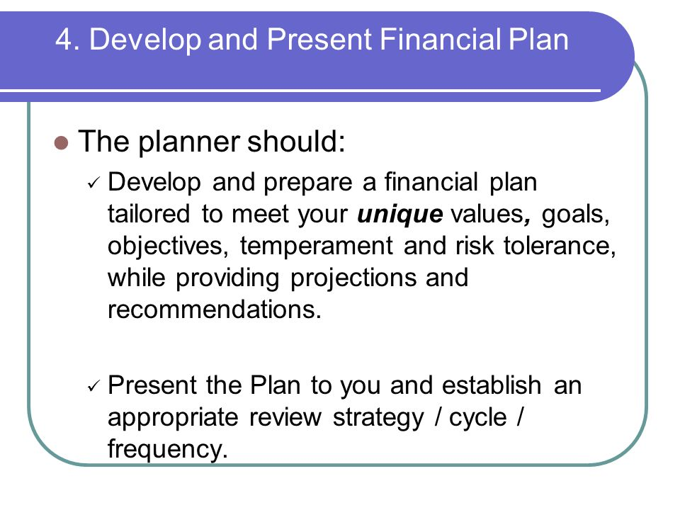 how to prepare a financial plan