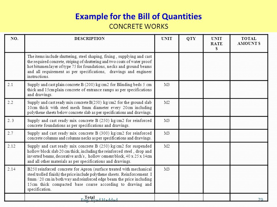 Specification quantities estimating ppt download example for the bill of quantities concrete works thecheapjerseys Image collections