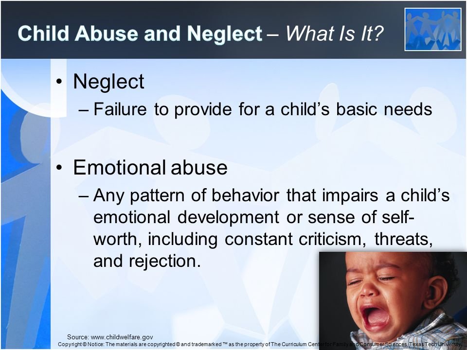 sign and symtoms of child abuse 1 Signs of child neglect child neglect is the most common form of child abusesigns of child neglect can be seen in the child and in their caregiver an outsider may see one sign and think nothing of it, but when several of these signs of child neglect are taken together, a picture starts to form.