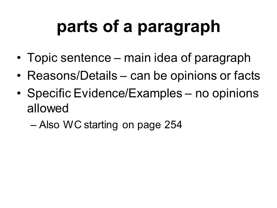 example of paragraph development by details with facts