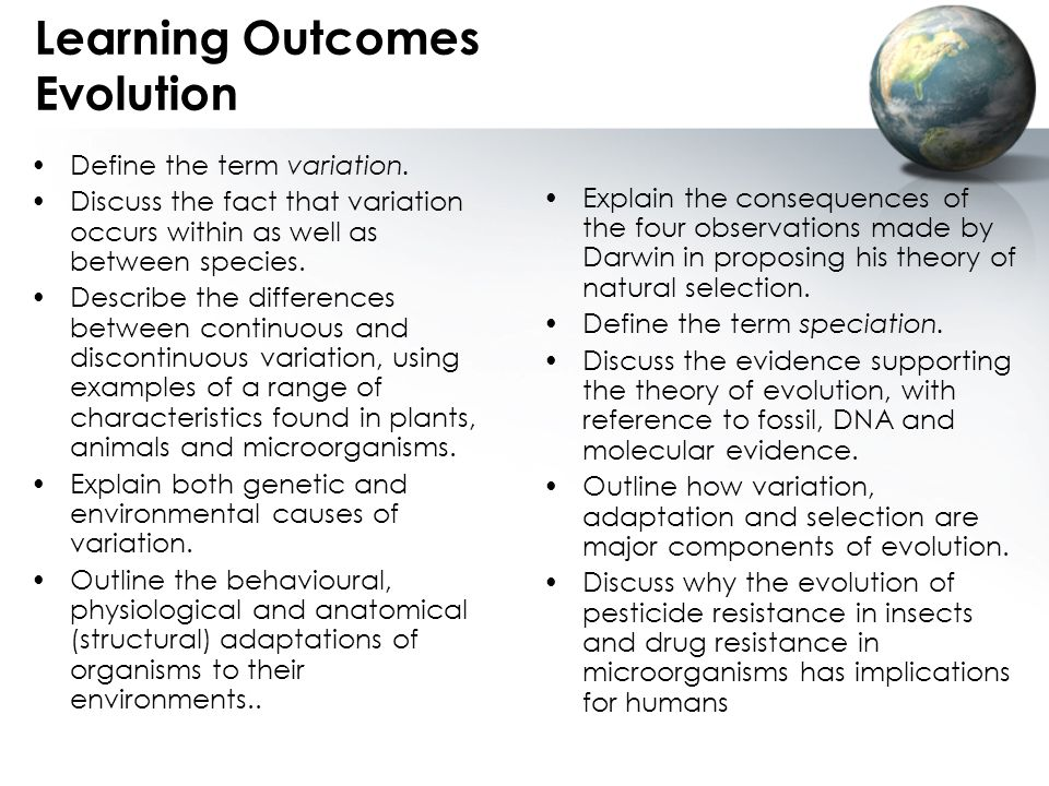 Learning Outcomes Evolution