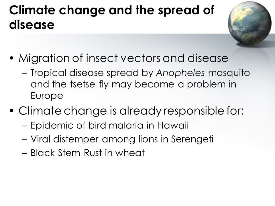 Climate change and the spread of disease