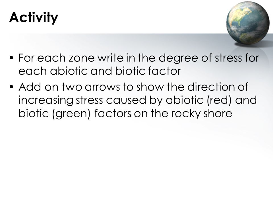 Activity For each zone write in the degree of stress for each abiotic and biotic factor.