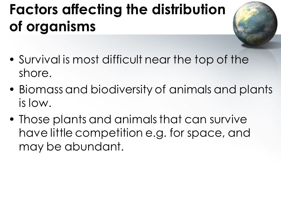 Factors affecting the distribution of organisms