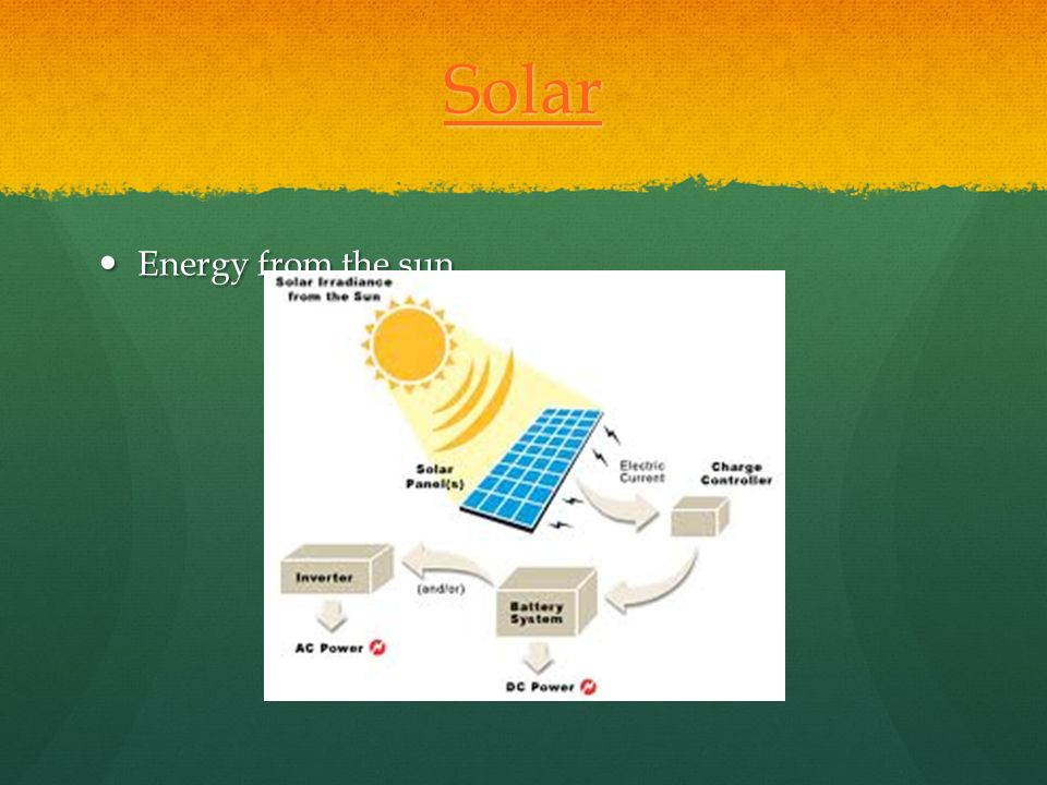 Solar Energy from the sun Click on title for Solar power video