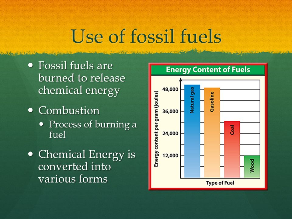 Use of fossil fuels Fossil fuels are burned to release chemical energy