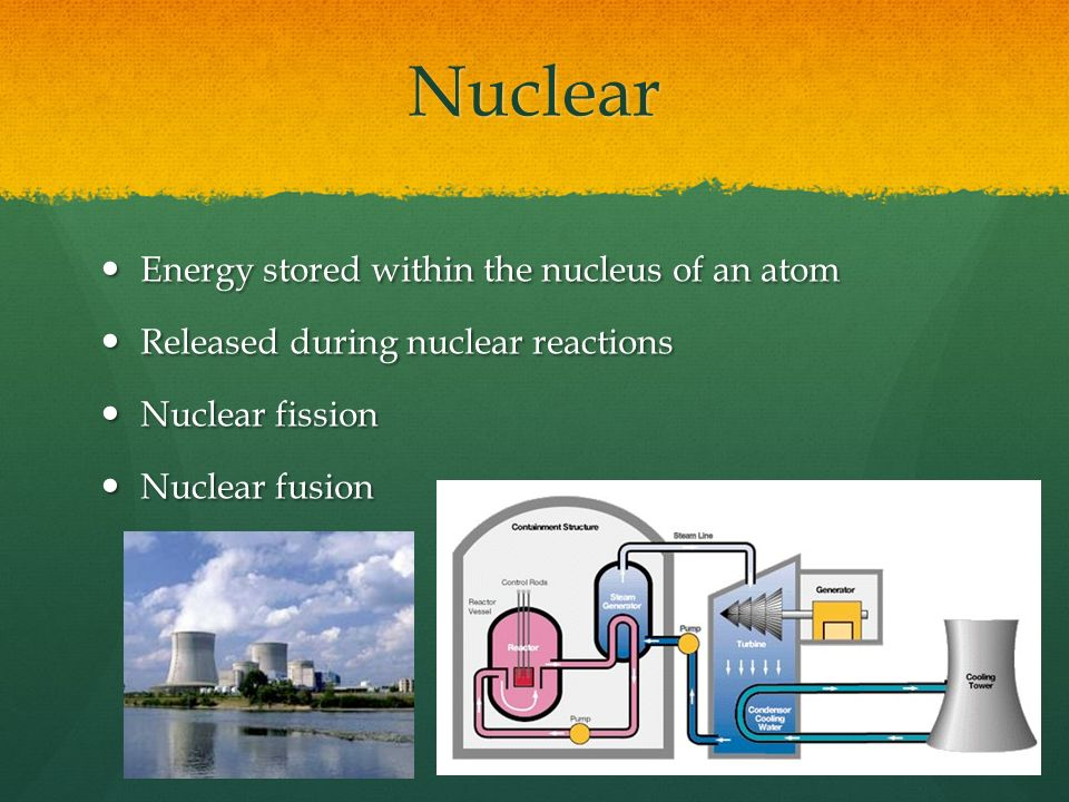 Nuclear Energy stored within the nucleus of an atom