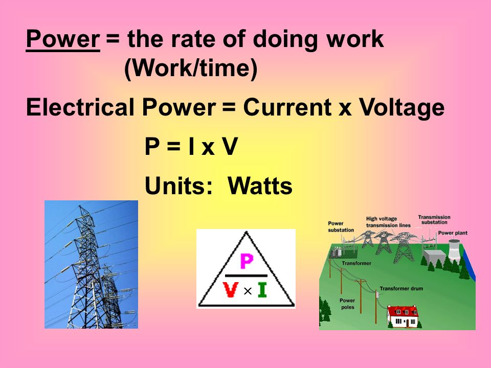 Power = the rate of doing work (Work/time)
