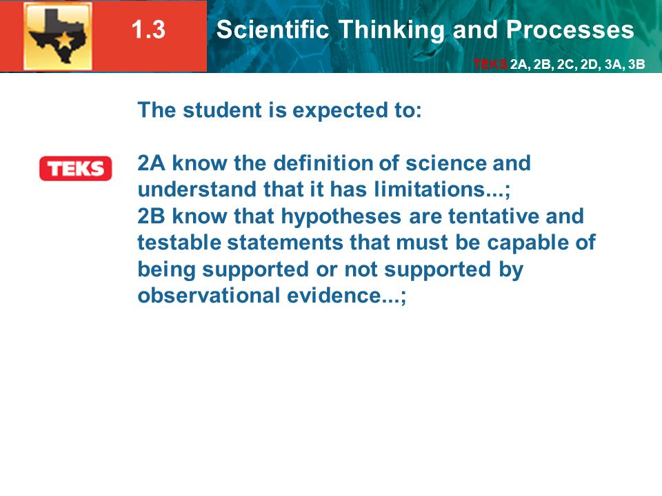 The student is expected to: 2A know the definition of science and understand that it has limitations...; 2B know that hypotheses are tentative and testable statements that must be capable of being supported or not supported by observational evidence...;