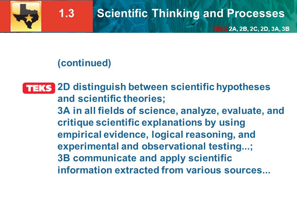 (continued) 2D distinguish between scientific hypotheses and scientific theories; 3A in all fields of science, analyze, evaluate, and critique scientific explanations by using empirical evidence, logical reasoning, and experimental and observational testing...; 3B communicate and apply scientific information extracted from various sources...