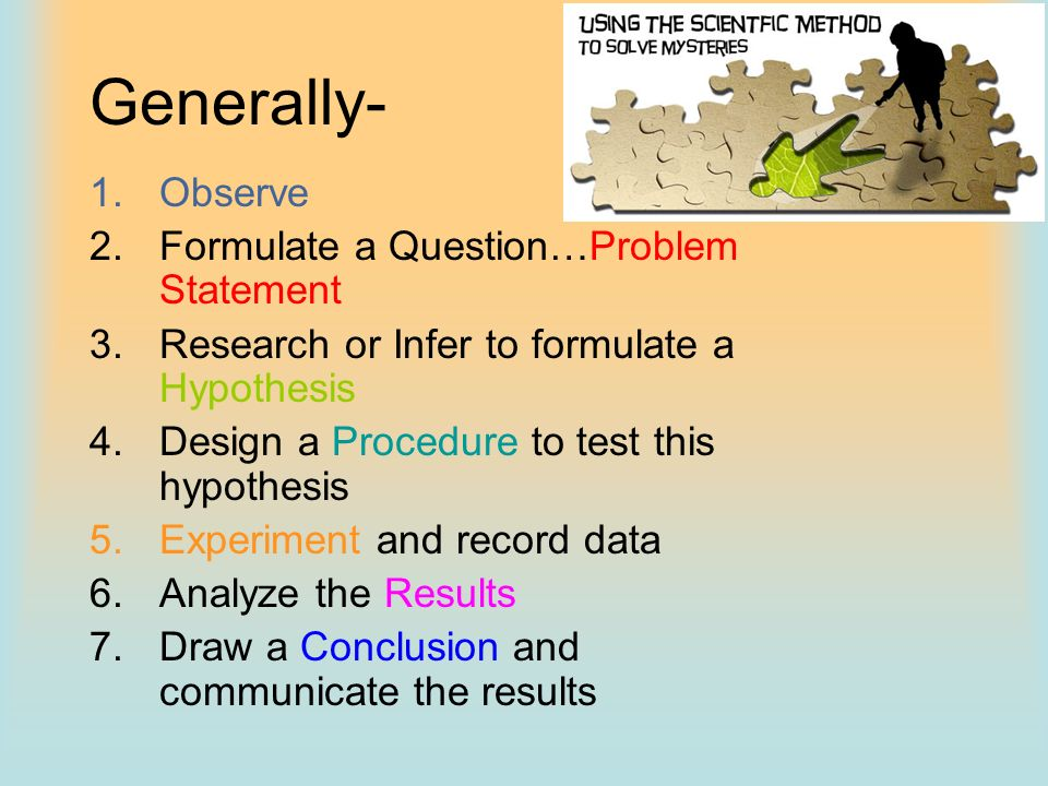 Generally- Observe Formulate a Question…Problem Statement