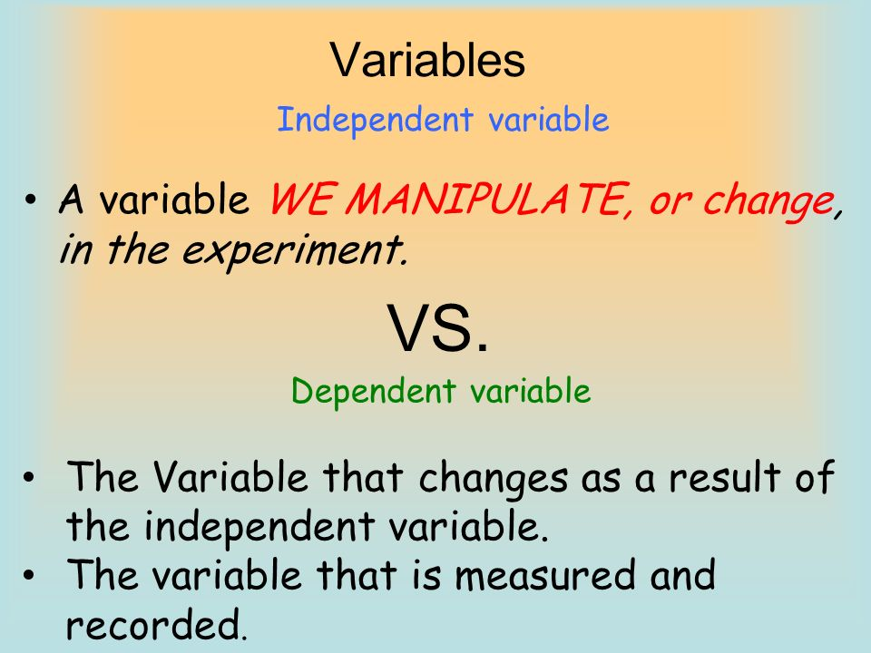 VS. Variables A variable WE MANIPULATE, or change, in the experiment.