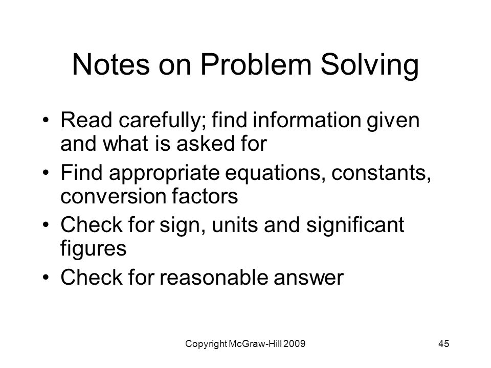 Notes on Problem Solving
