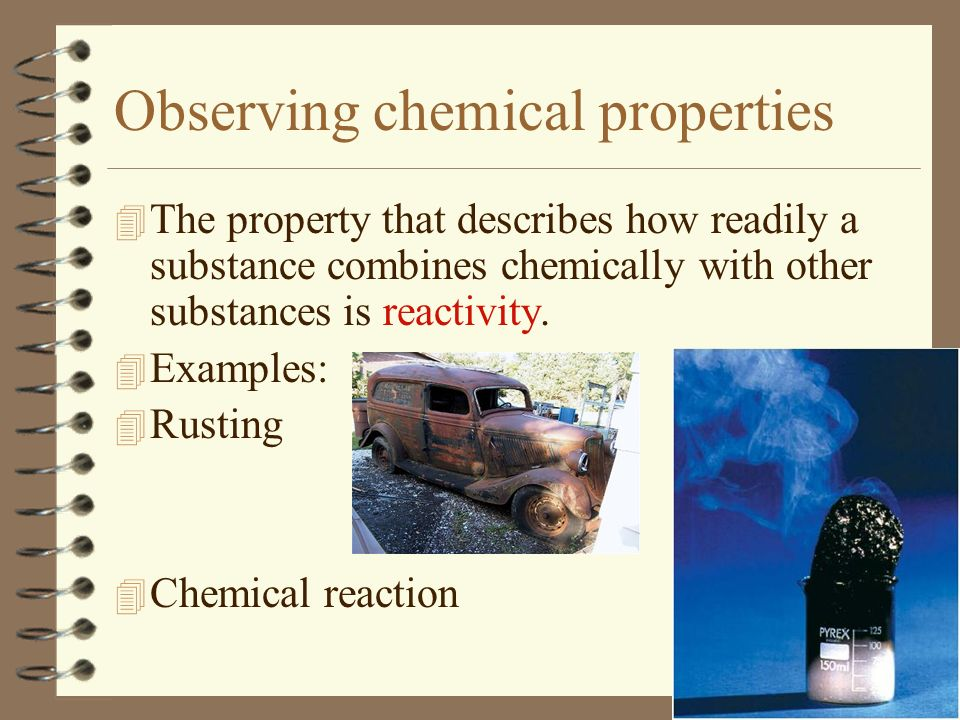 Observing chemical properties