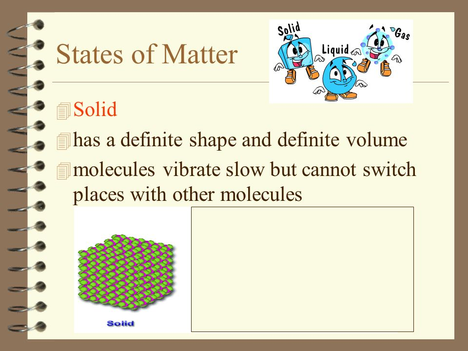 States of Matter Solid has a definite shape and definite volume