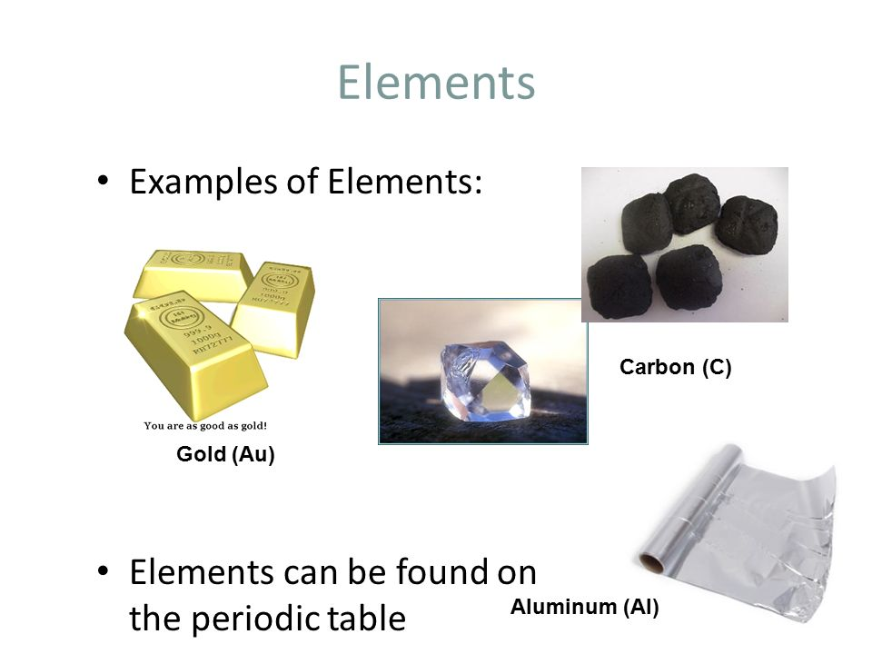 Elements Examples of Elements: