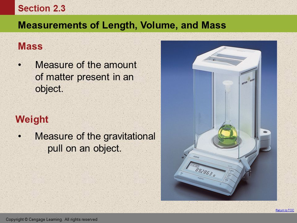 Measure of the amount of matter present in an object.