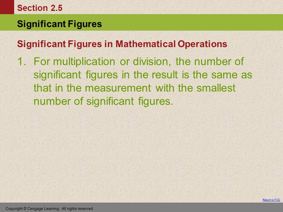Significant Figures in Mathematical Operations